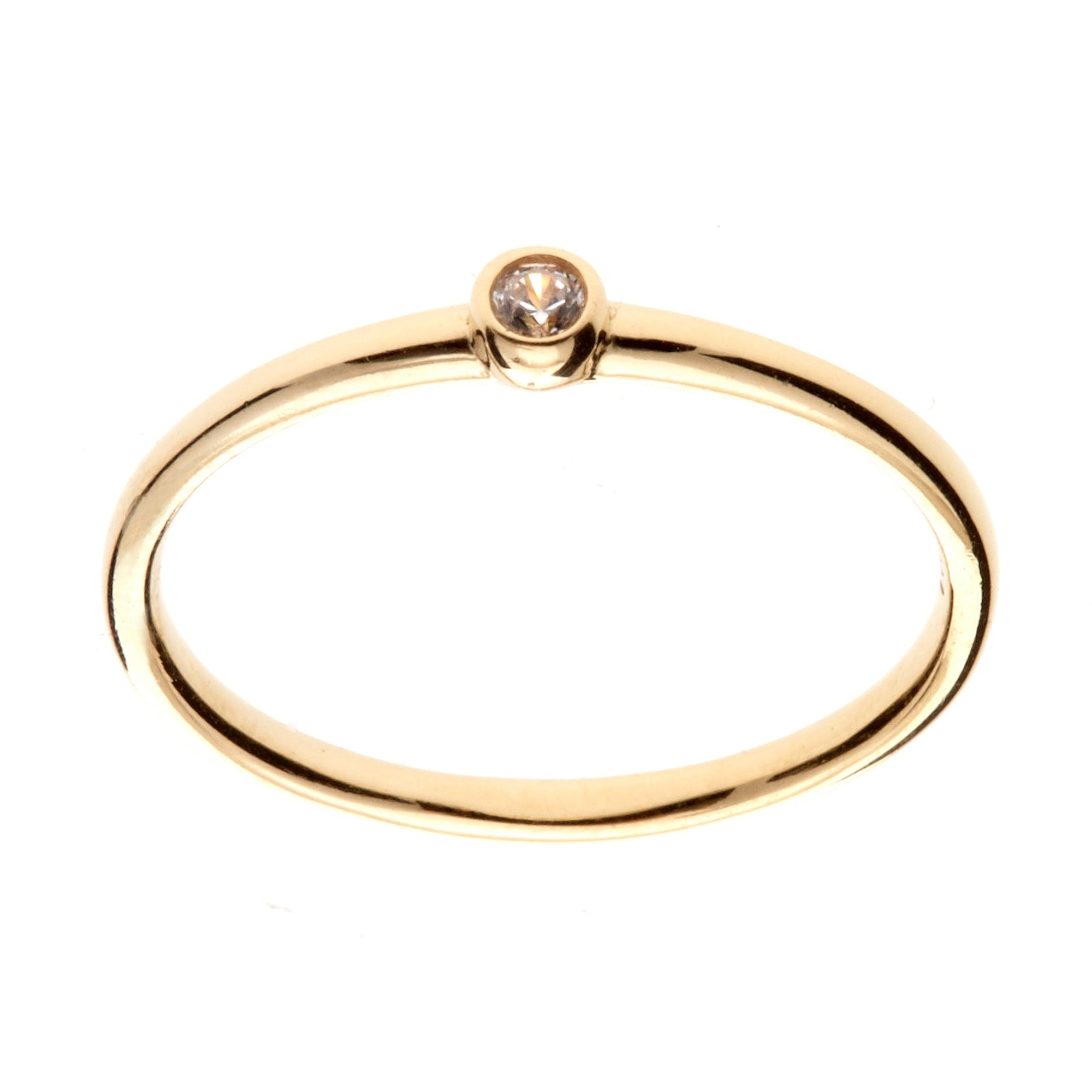 9K Gold Bezel Diamond Ring