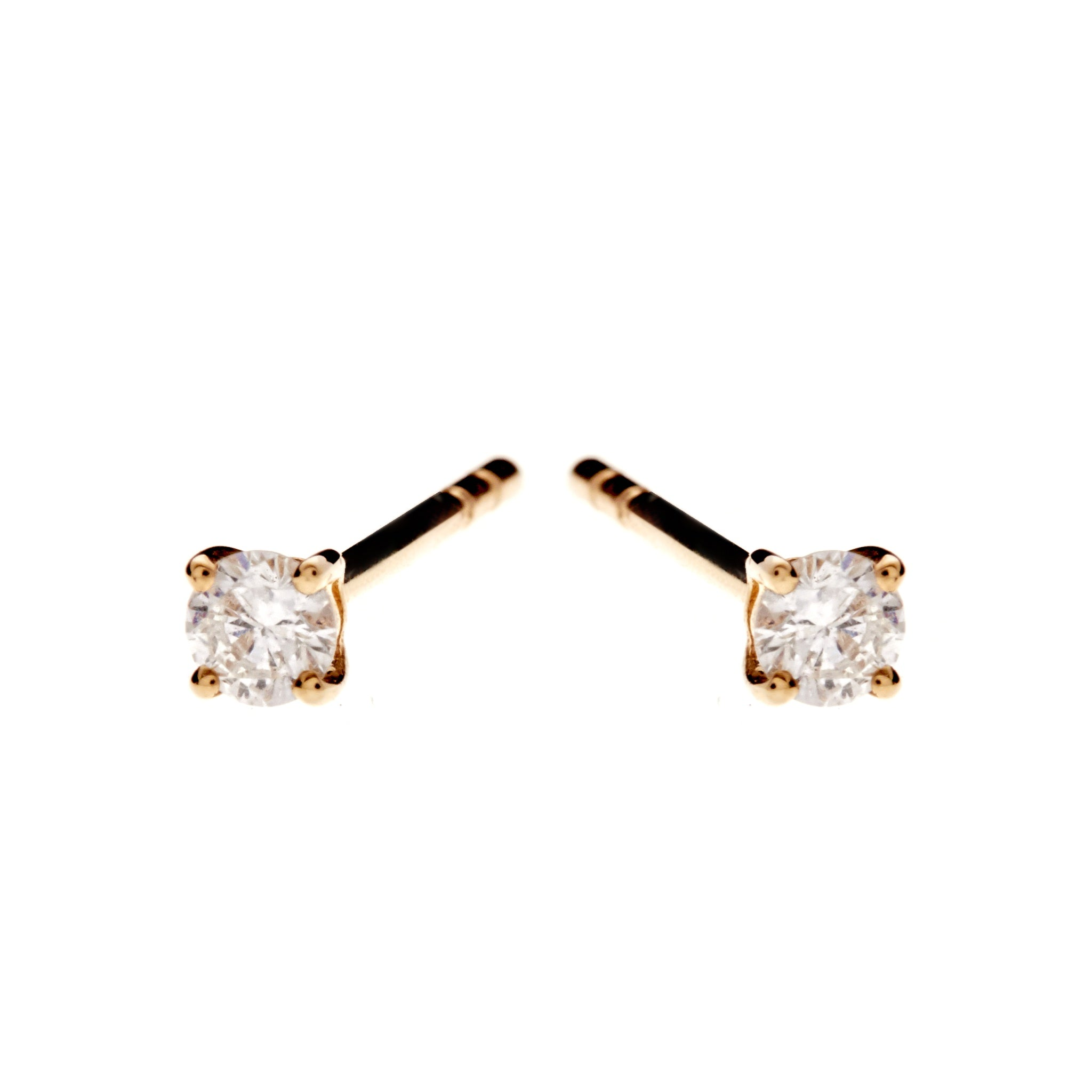 9K Gold Claw-Set Diamond Stud Earrings