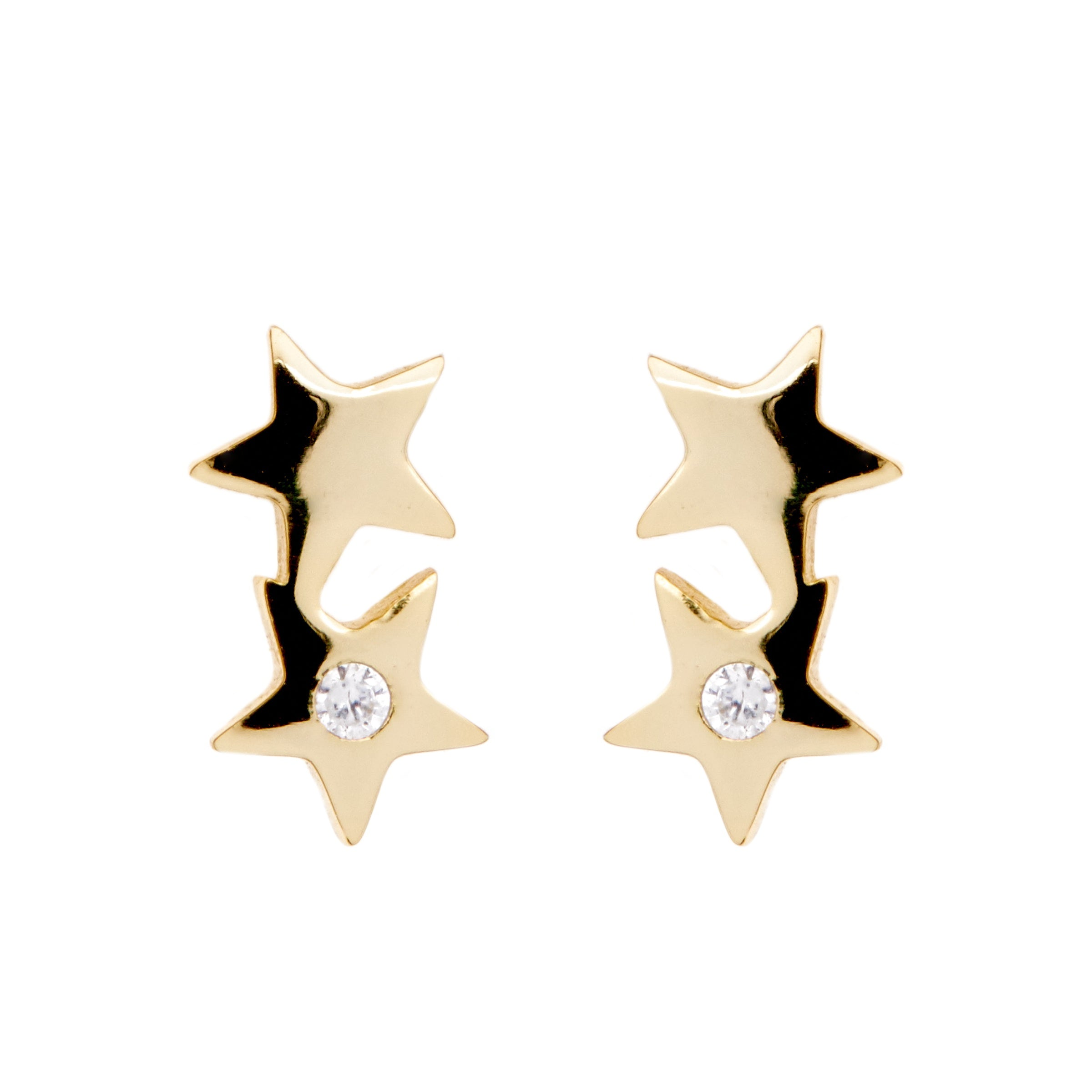 Double Star Gold Earrings