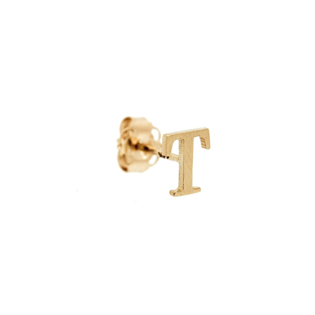 14K Gold Baby Initial Stud - Single