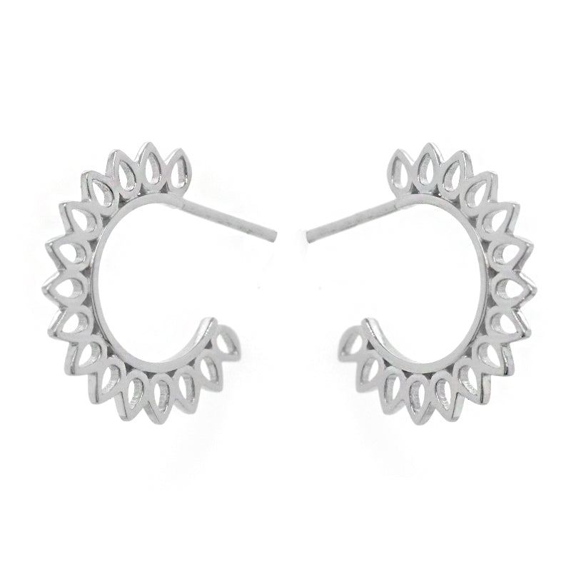 Sunburst Silver Hoop Earrings