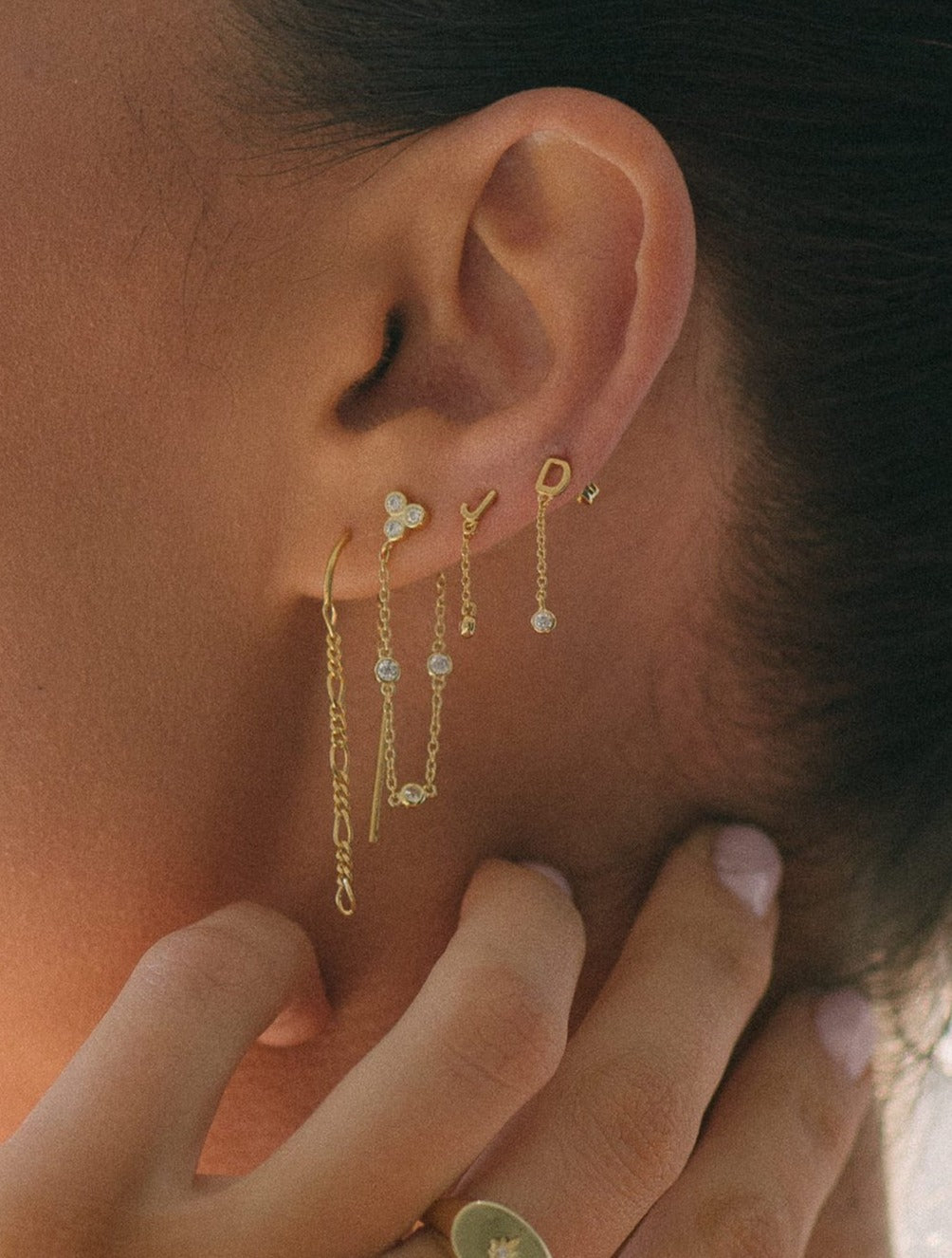 Figaro Gold Chain Earrings
