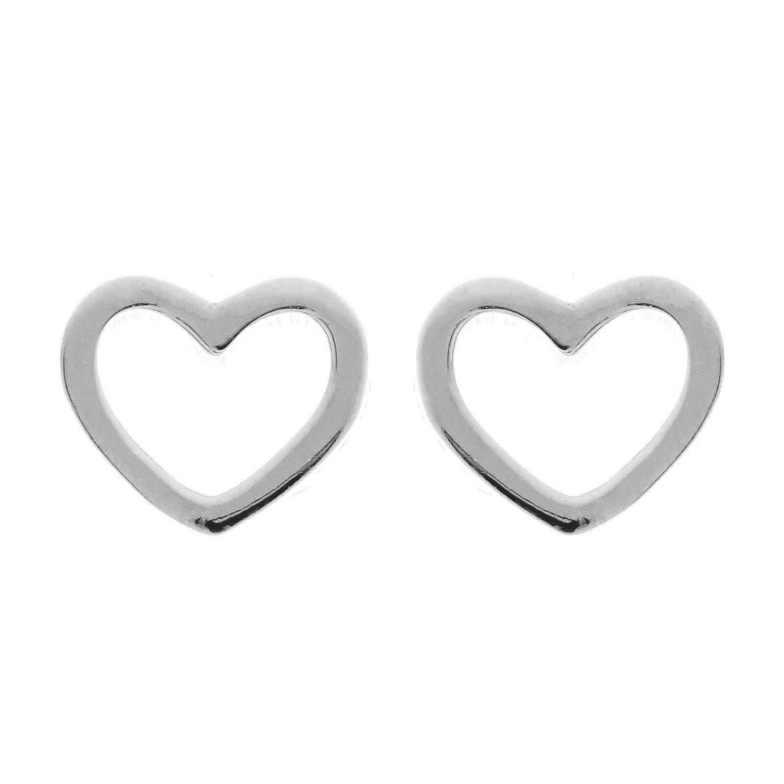 Hollow Heart Silver Studs