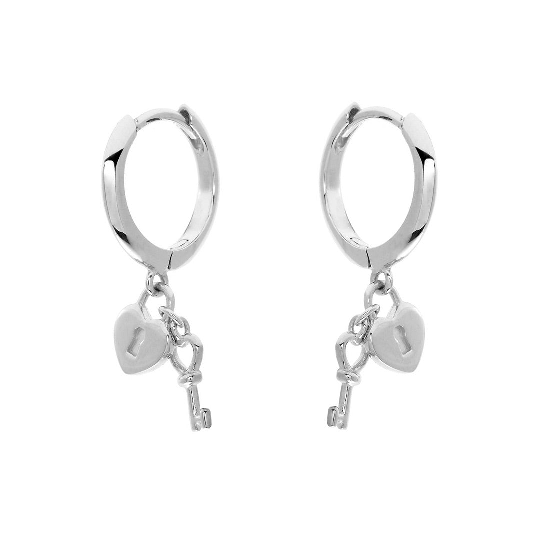 Lock & Key Silver Mini Hoops