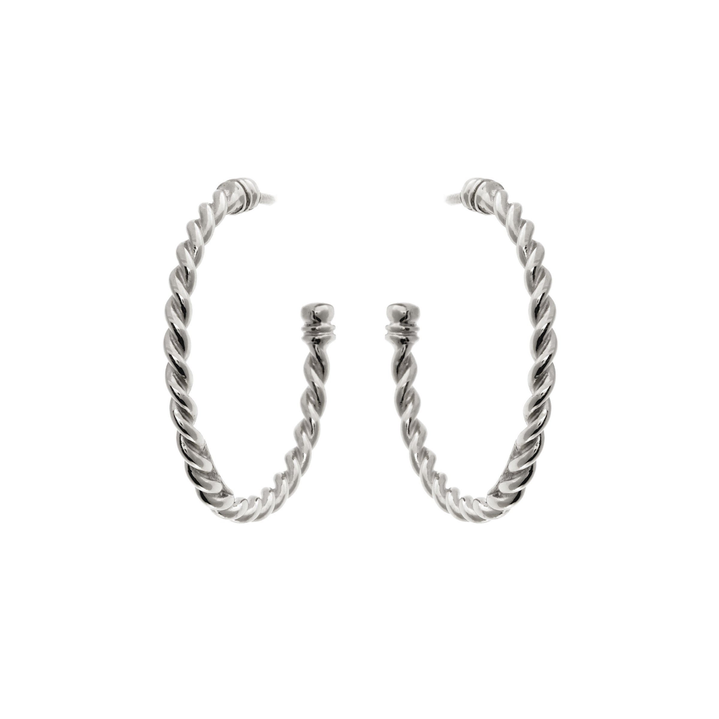 Plait Silver Hoops
