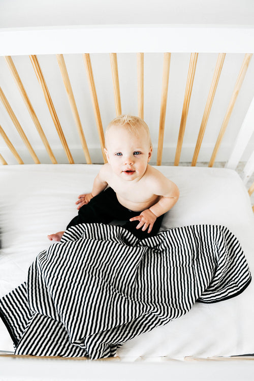 Black and White Stripe Reversible Quilt