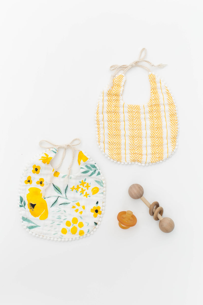 Buttercup Blossom and Mustard Herringbone Bib Pack
