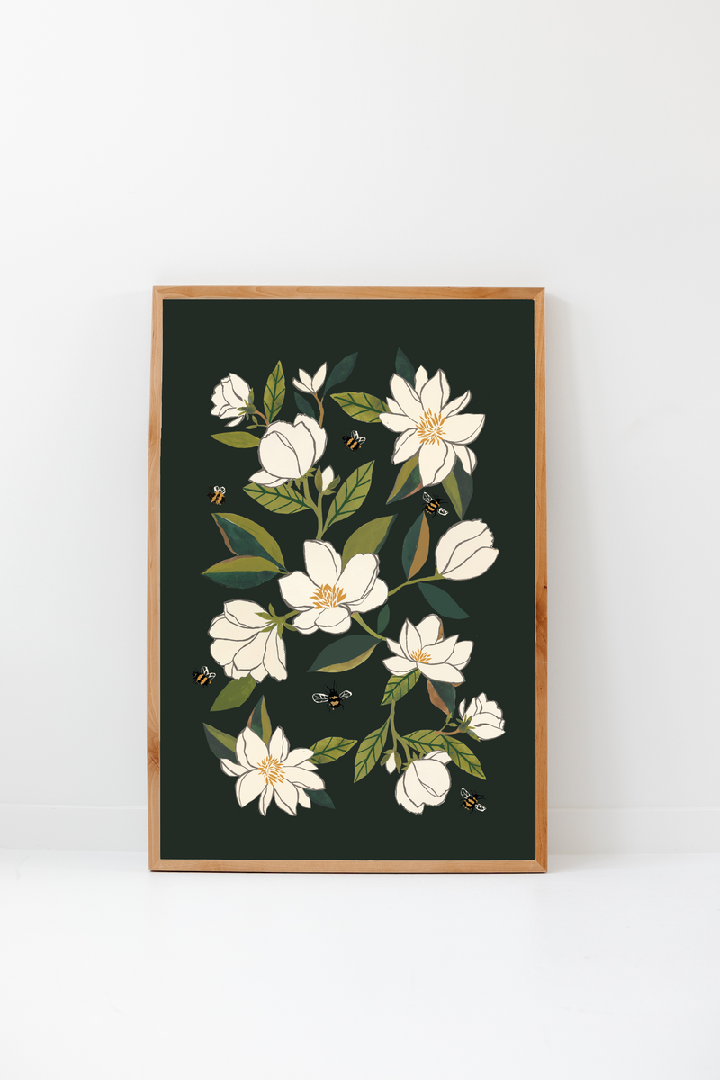 Magnolia and Bumblebees Art