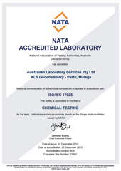ALS Global Water Test NATA approved.
