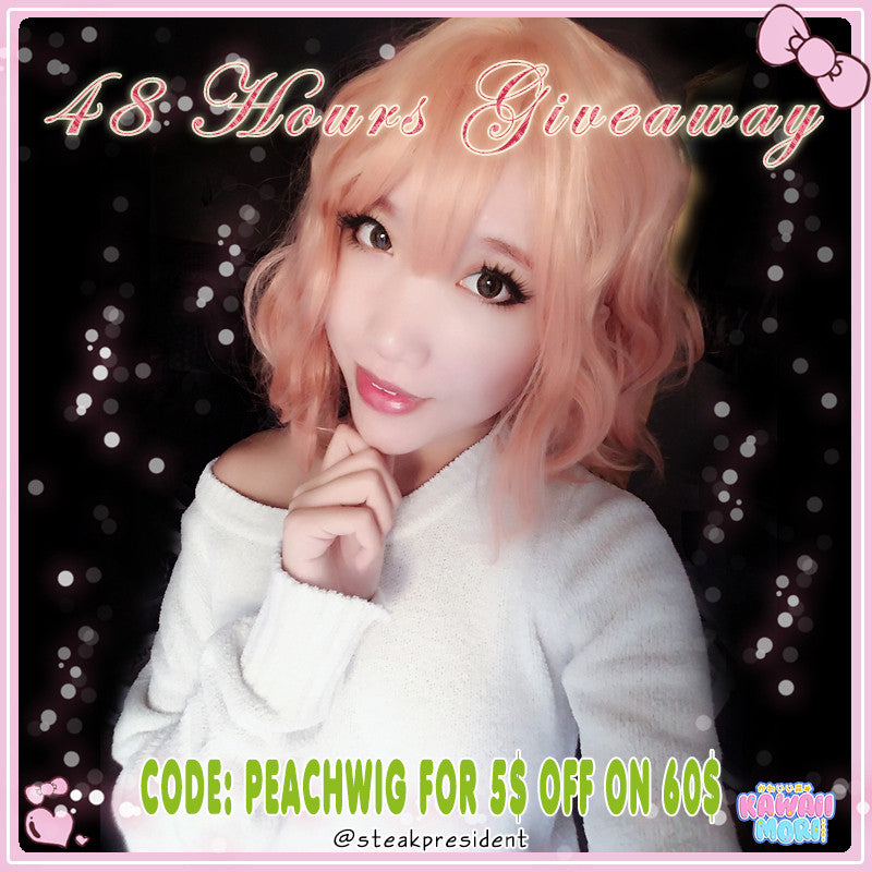 Peach Wig Giveaway by @Kawaiimoristore and @steakpresident