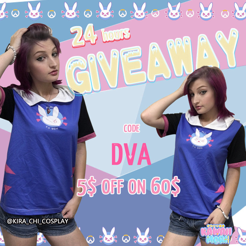 D.VA Hoodie Shirt 24 Hours Giveaway by @Kawaiimoristore and @Kira_chi_cosplay