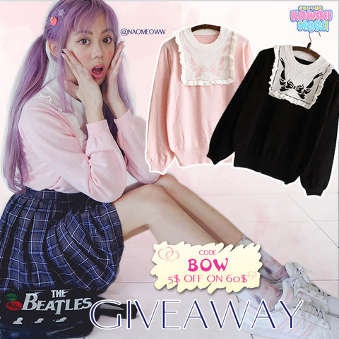 Bow Sweater Giveaway by @Kawaiimoristore and @Naomeoww