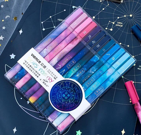Kawaii Twelve Constellations Gel Pen Set K011