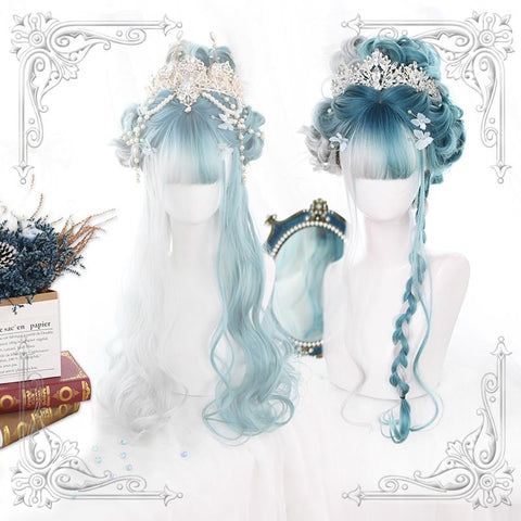 Green-Grey Mixed Lolita Long Curl Wig K14541