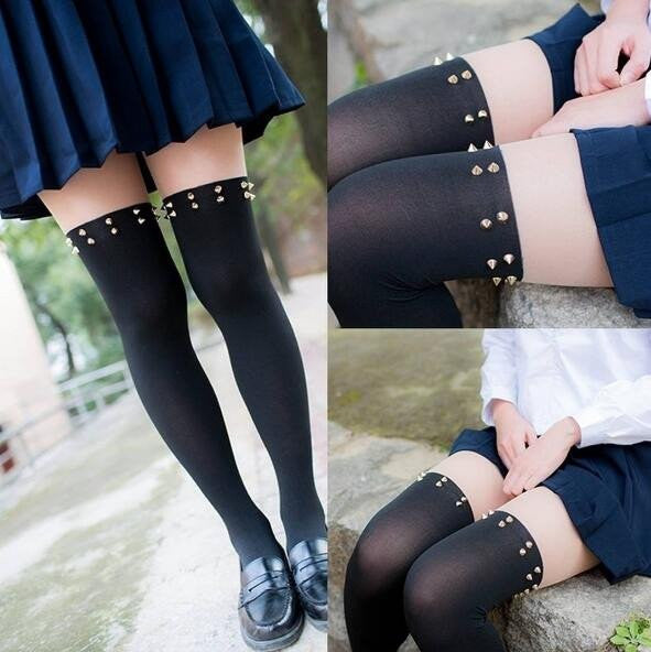 Black Rivet Stockings