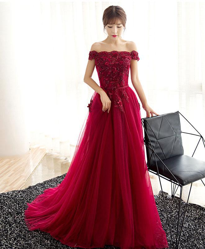 Burgundy Tulle Lace Long Prom Dress, Burgundy Evening Dress - DelaFur Wholesale