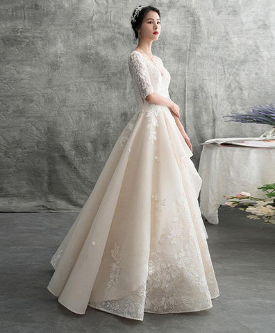 Champagne Tulle Lace Long Wedding Dress, Tulle Lace Applique Wedding Gown - DelaFur Wholesale