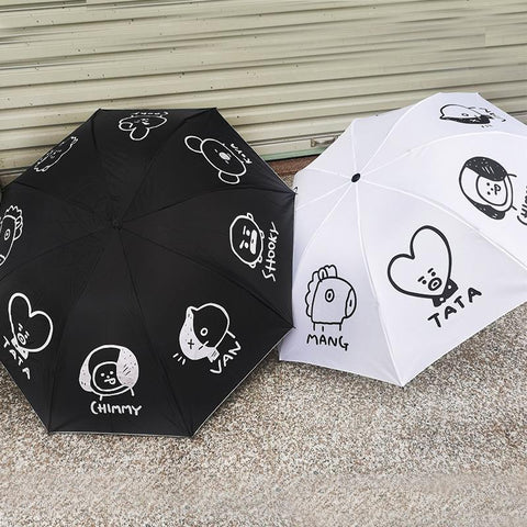 Black/White Kawaii BTS BT21 Umbrella
