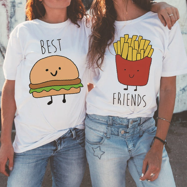 Best Friends Print Loose Tees K15045 - kawaiimoristore