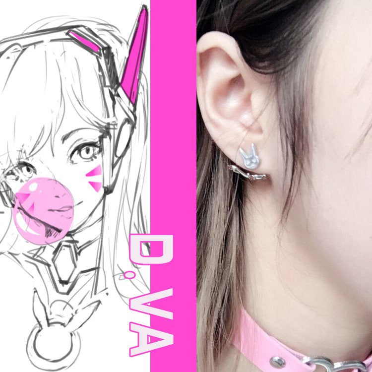 Cute Overwatch Bunny DVA D.VA Earrings KW1711222