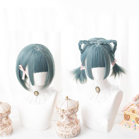 Green Lolita Mixed Color Short Wig SA021