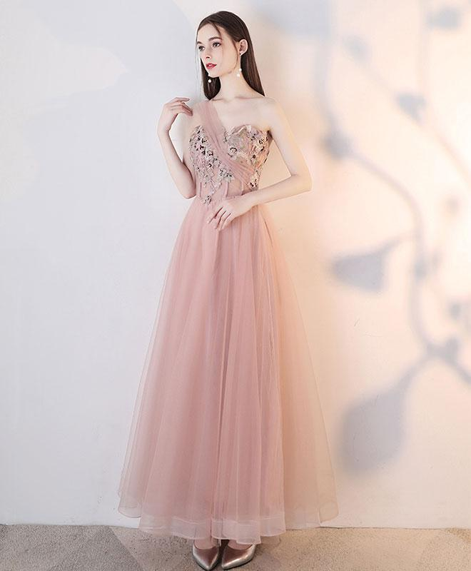 Champagne Pink Tulle Lace Long Prom Dress, Tulle Lace Evening Dress - DelaFur Wholesale