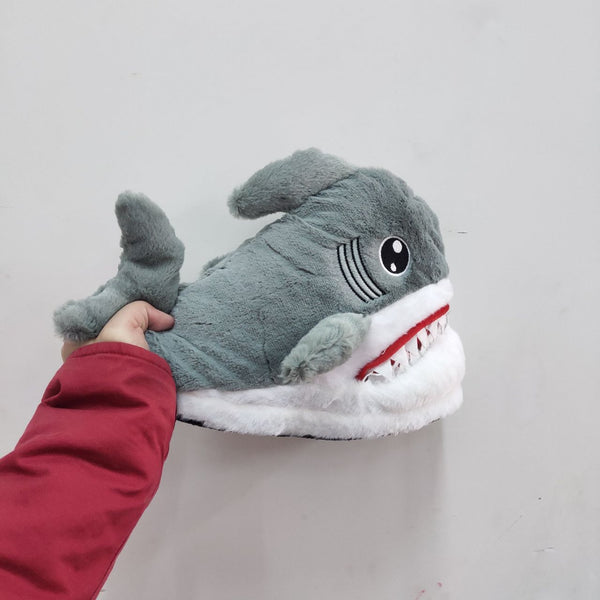 Grey Shark Attack Fluffy Slippers KW1711321