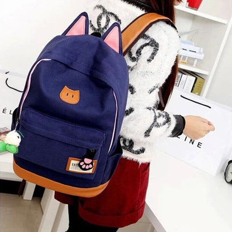 Cartoon Cat Ear Shoulder Schoolbag Backpack  KW1711506