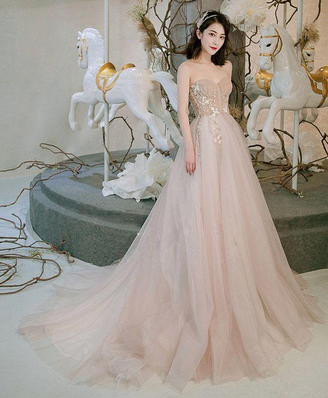 Champagne Sweetheart Tulle Long Prom Dress, Champagne Evening Dress - DelaFur Wholesale