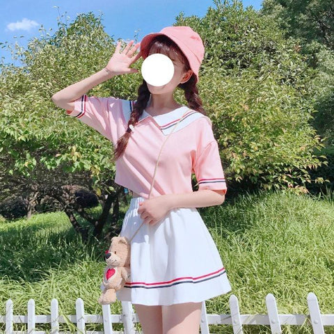 Cute Baby Doll Coller Short Sleeve Blouse and Skirt Two Piece Set K15320 - kawaiimoristore