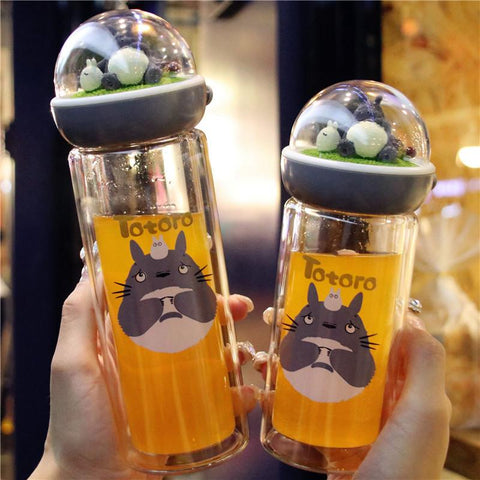 Kawaii Totoro Microlandscape Glass Water Bottle K11653