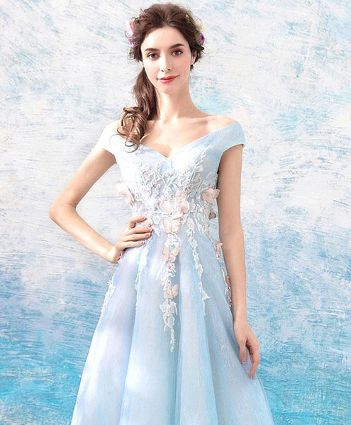 Blue V Neck Off Shoulder Tulle Long Prom Dress, Blue Evening Dress - DelaFur Wholesale