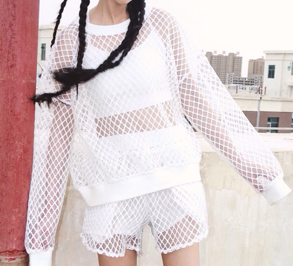 Black/white Grid T-shirt + shorts Two-piece KW179448