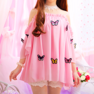 Sweet Falbala Butterfly Condole Belt Loose Chiffon dress KW1812320