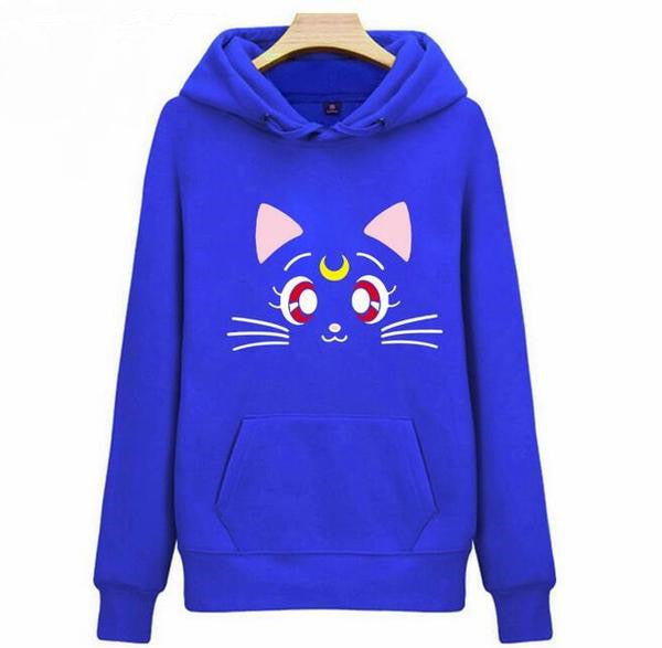 Lovely Cat Printed  Fleece  Jumper K12914