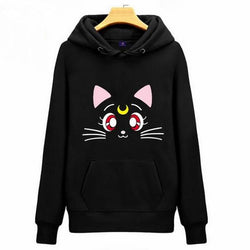 Lovely Cat Printed  Fleece  Jumper