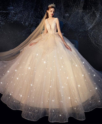 Champagne Tulle Wedding Dress, Champagne Tulle Bridal Gown - DelaFur Wholesale