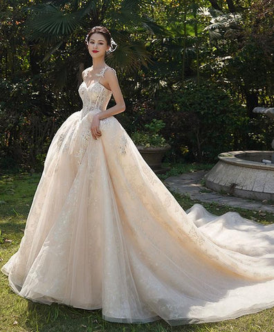 White Tulle Lace Long Wedding Dress, Wedding Gown - DelaFur Wholesale