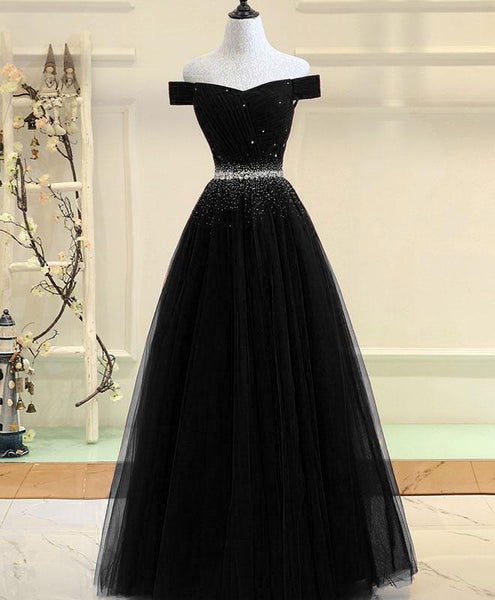 Burgundy Tulle Off Shoulder Long Prom Dress, Burgundy Evening Dress A004 - DelaFur Wholesale