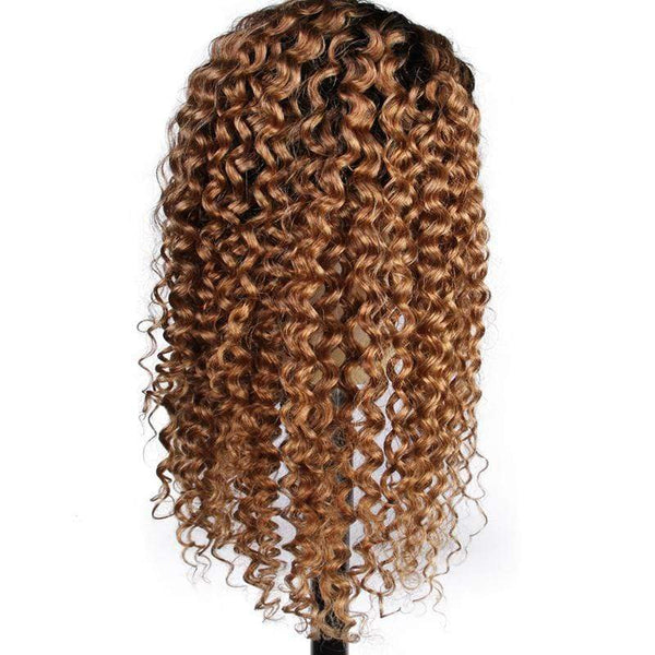 1B/27 Ombre Brazilian Virgin Hair Lace Front Human Hair Wigs With Baby Hair Deep Curly
