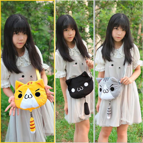 3 colors Kawaii [Neko Atusme] Cat Plush Bag SP153523 - SpreePicky  - 1