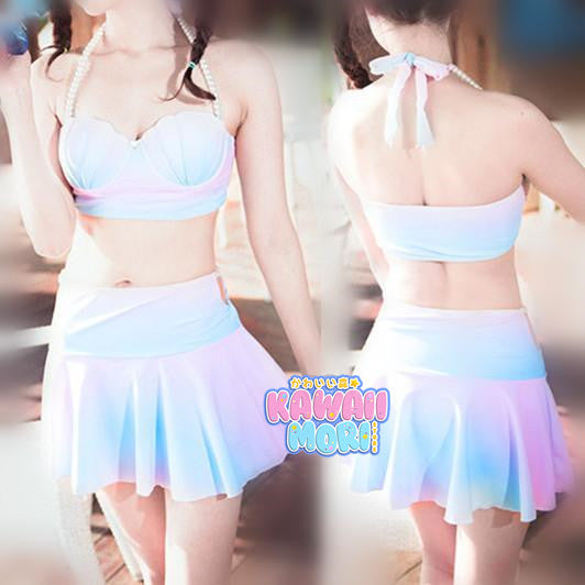 S-XL Pastel Mermaid Swimsuit Sea Shell Bikini Set KW166476