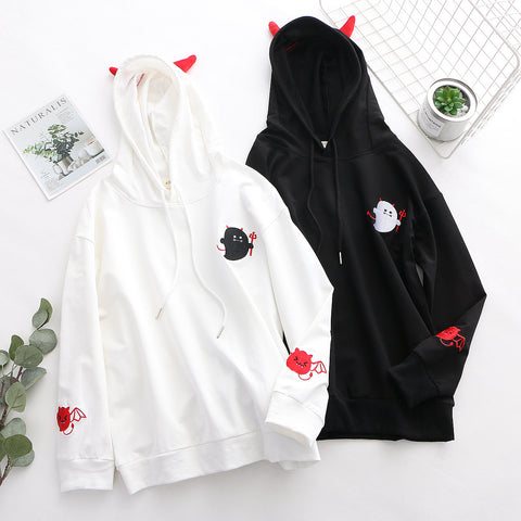 Black/White Little Cute Devil Print Hoodie Jumper K14214