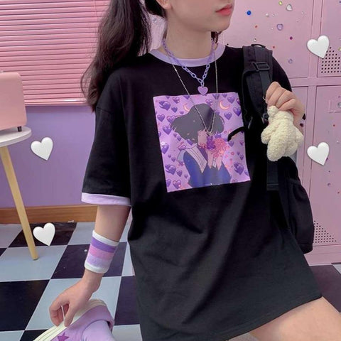 Purple Love Girl Print T-shirt K15201 - kawaiimoristore