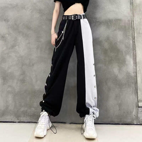 Gothic Black White Splice High Waist Wide Leg Pants K15192 - kawaiimoristore