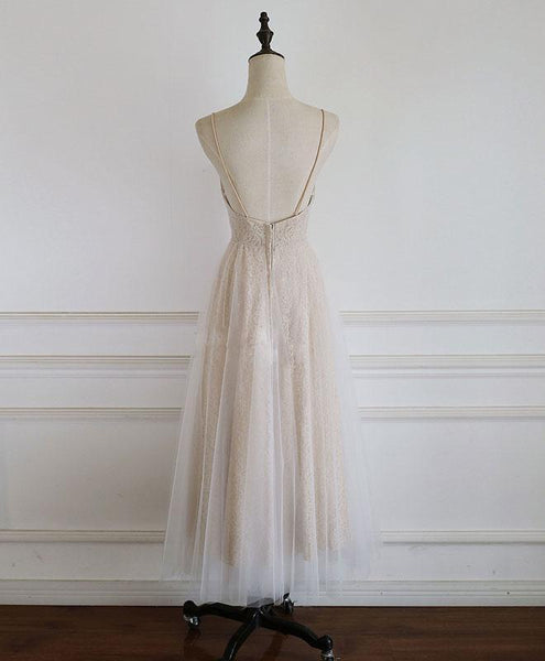 Champagne Tulle Lace Short Prom Dress Lace Bridesmaid Dress - DelaFur Wholesale