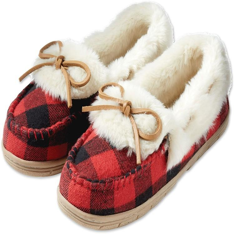Warm Plush Bowknot Fur Boat Shoes K15529 - kawaiimoristore