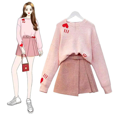 Sweet Heart Sweater/Skirt K14218