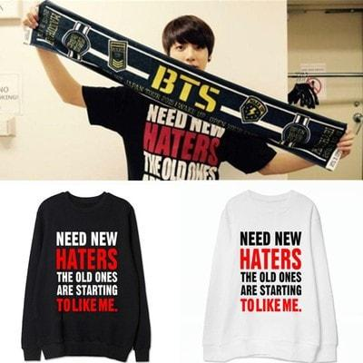 Black/White BTS Jungkook Need New Haters Pullover