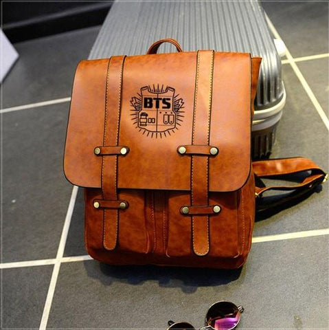 BTS Preppy Leather Backpack